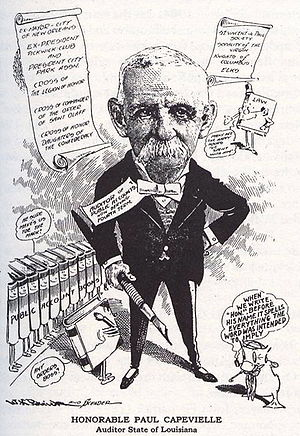 Paul Capdevielle - 1917 cartoon depicting former mayor Capdeville when he was Auditor of the State of Louisiana