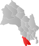 Locator map showing Kongsberg within Buskerud