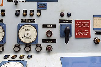 Scram - SCRAM button in the control room of the NS Savannah