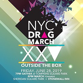 promotional image for 25th anniversary of NYC Drag March.