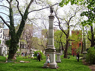 New York City Marble Cemetery - Unlike the nearby New York Marble Cemetery, the New York City Marble Cemetery has monuments and markers at the locations of the underground vaults.
