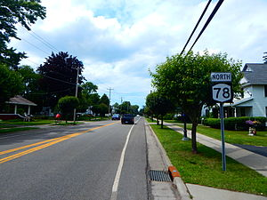 NY 78 through the hamlet of Newfane.