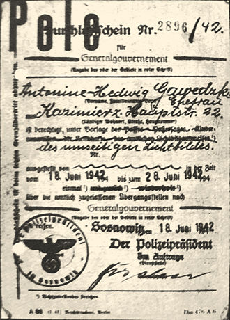 Expulsion of Poles by Germany - Expulsion Warrant from Sosnowiec 1942 with stamp Pole.