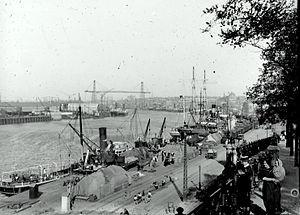 Nantes, La Loire et Le Pont Transbordeur en 1912