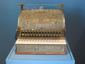 Old National Cash Register on display at the Museo de la Secretaria de Hacienda y Credito Publico in Mexico City NatCashRegSHCP.JPG