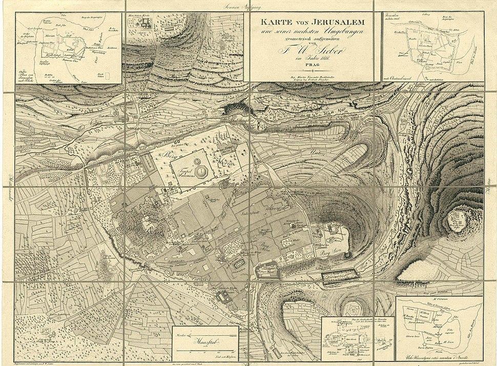 National Library of Israel, Sieber Map, Karte von Jerusalem und seiner naechsten Umgebungen