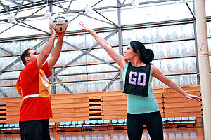 Netball Game in Action - Guarding Category:Netball