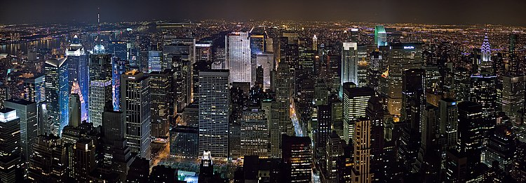 View of the Midtown Manhattan skyline, looking north from the Empire State Building.