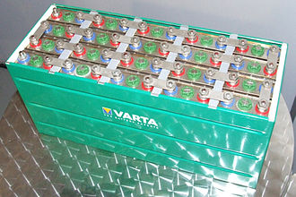 Nickel–metal hydride battery - Nickel–metal hydride 24 V battery pack made by VARTA, Museum Autovision, Altlussheim, Germany