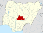 Map of Nigeria highlighting Nasarawa State
