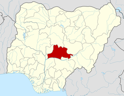 Location of Nasarawa State in Nigeria