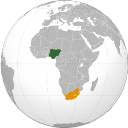Map indicating locations of Nigeria and South Africa