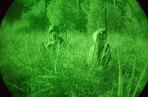 Night vision - Two American soldiers pictured during the 2003 Iraq War seen through an image intensifier