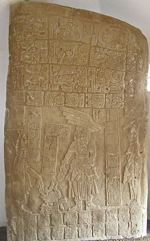 "Nim Li Punit - Stela with ruler with large head-dress or ""Big Hat"", namesake of Nim Li Punit"
