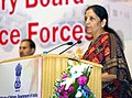 Nirmala Sitharaman addressing the gathering at the handing over of products developed by the Defence Public Sector Undertakings and Ordnance Factories to Central Armed Police Forces (CAPFs), in New Delhi.jpg