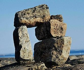"Nunavut - Niungvaliruluit (""pointer like a window"") inuksuk, Foxe peninsula, Baffin Island"