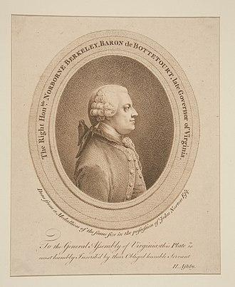 Norborne Berkeley, 4th Baron Botetourt - Image: Norborne Berkeley Baron de Botetourt