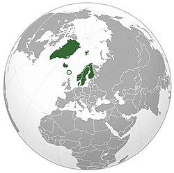 Location of  Nordic countries  (dark green)in Northern hemisphere  (dark grey)  –  [Legend]