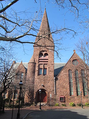 Ashlar - Architect Henry Hobson Richardson specified quarry-faced red Longmeadow sandstone in random ashlar for the North Congregational Church (Springfield, Massachusetts, 1871). Although each ashlar block was cut with great precision on the faces adjacent to each other, the external face was left rough as when removed from the quarry. The blocks were carefully laid without continuous courses or joints both vertically and horizontally, giving a random appearance.