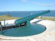 The disappearing gun of the South Battery, at North Head in Devonport, New Zealand.