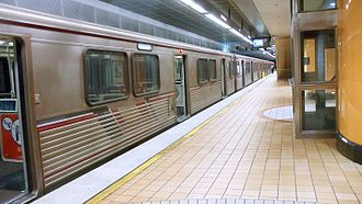Red Line (Los Angeles Metro) - Train at North Hollywood Metro Red Line Station.