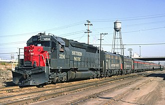 Cascade (train) - An EMD SDP45 and two FP7s lead the Cascade into Berkeley, California, in April 1971