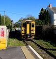 Northbound train leaves Llandybie station - geograph.org.uk - 4444903.jpg