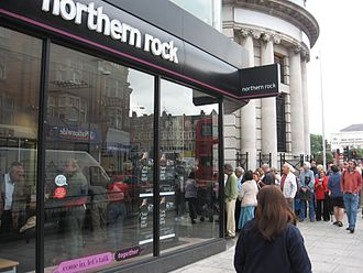 United States housing bubble - Bank run on the U.K.'s Northern Rock Bank by customers queuing to withdraw savings in a panic related to the U.S. subprime crisis.