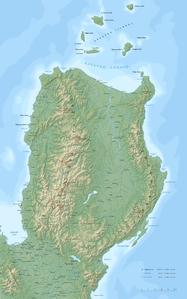 Topografische Karte mit den Gebirgszügen im Nordteil der Insel Luzón