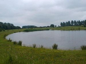 Northstowe - A lake on the Northstowe development site.