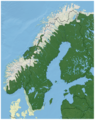 Norway Spruce Picea abies distribution in Scandinavia map.png