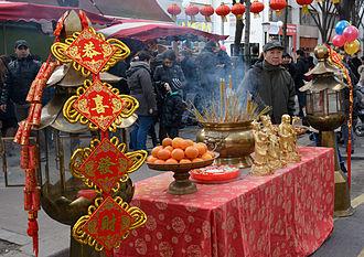 Sanxing (deities) - Image: Nouvel an chinois 2015 Paris 13 autel