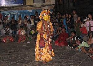 Pahan Charhe - The Nyatamaru Ajima Pyakhan dance at Nyata during Pahan Charhe.
