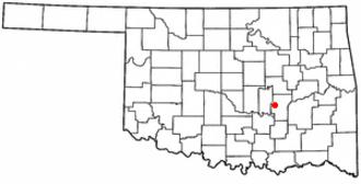 Holdenville, Oklahoma - Image: OK Map doton Holdenville