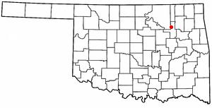 Turley, Oklahoma - Image: OK Map doton Turley
