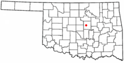 Location of Warwick, Oklahoma