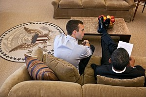 2011 State of the Union Address - Speechwriter Jon Favreau and President Obama work on the 2011 address in the Oval Office the day before the session.