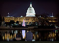 Observing the lights on the US Capitol Christmas Tree, from across the Reflecting Pool (December 4, 2012).jpg