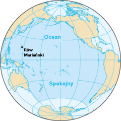 Ocean Spokojny z zaznaczonym Rowem Mariańskim