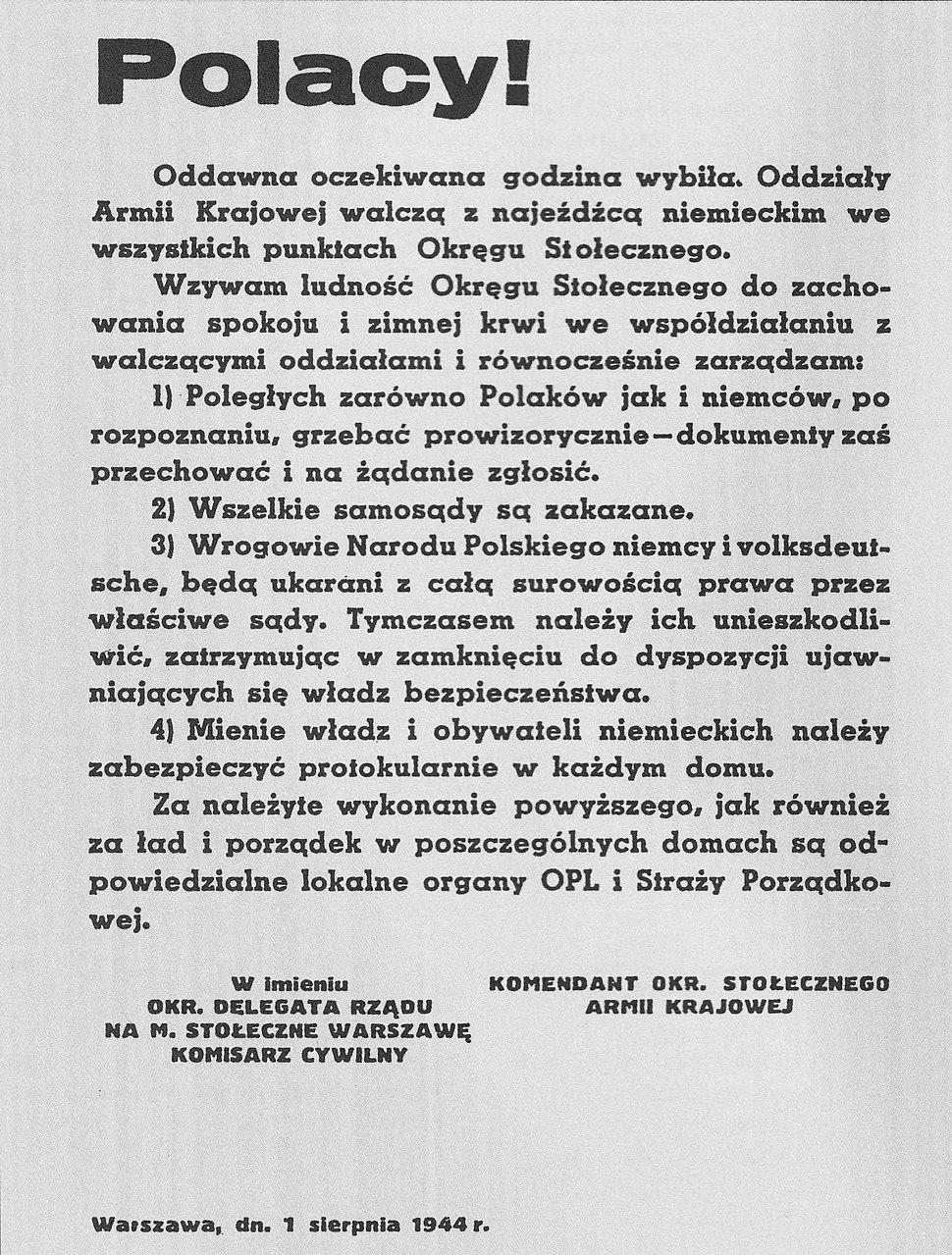 Odezwa władz powstańczych 1 sierpnia 1944