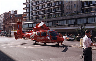 London's Air Ambulance - The former London Air Ambulance, an SA 365N Dauphin pictured in 1998, which was replaced in 2000