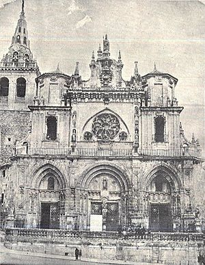 Cuenca Cathedral - Cathedral of Cuenca before the 1902 lightning strike and subsequent restoration of its facade.