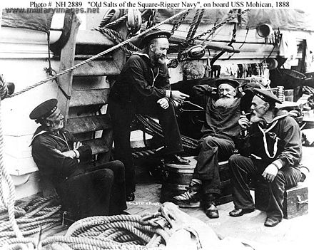 Sailors on USS Mohican in 1888.