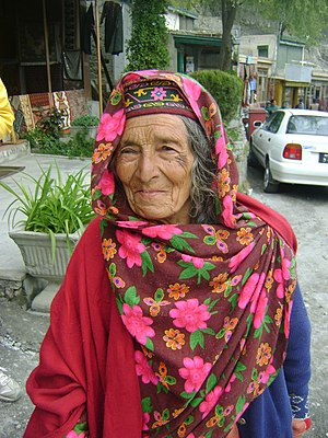 Burusho people - Old Hunza woman in Karimabad, Hunza Valley, Gilgit-Baltistan, Pakistan