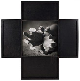 "Oliver Mark - Jenny Holzer, Leipzig 1996. Silver gelatin print on Alu Dibond. 151 × 154 cm (59 × 61"")"
