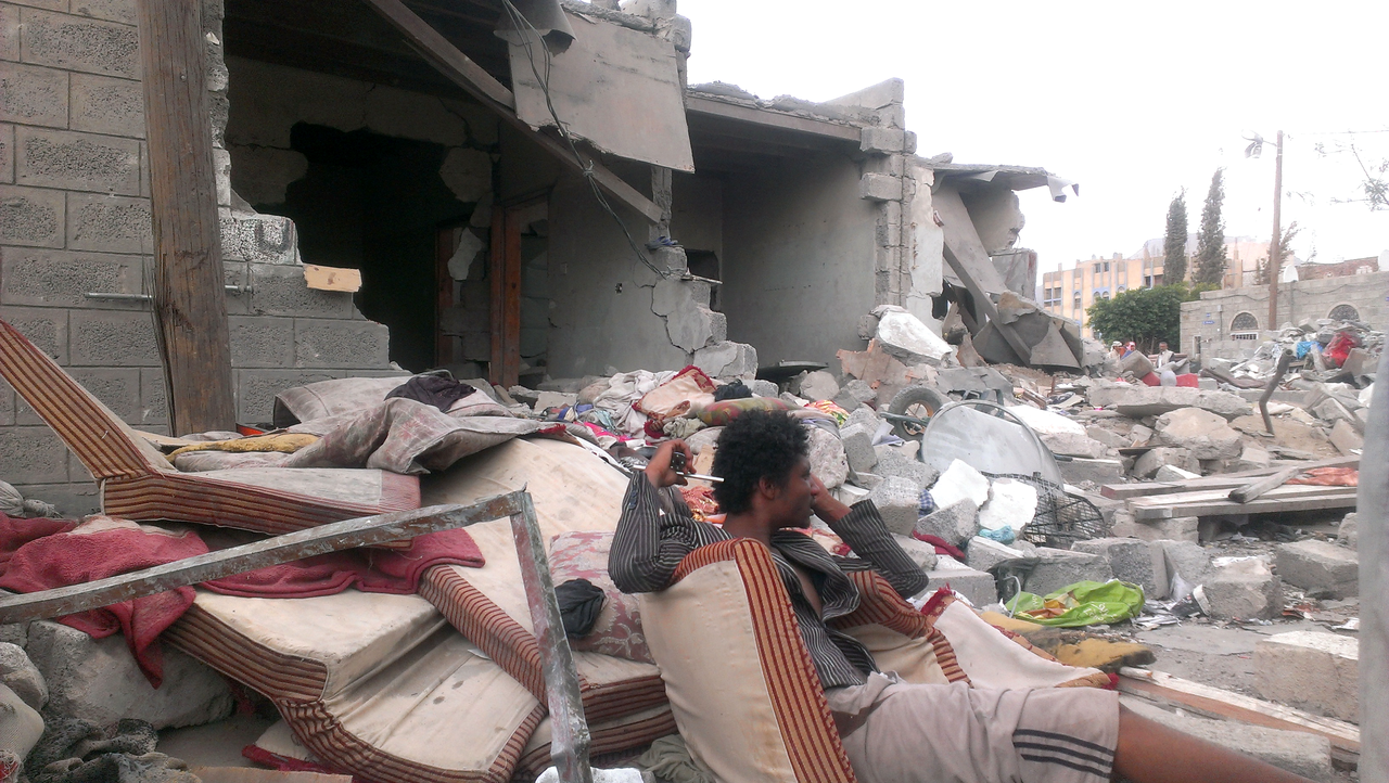 On the day after a July airstrike in Sanaa Yemen families mourn their lost relatives but say there is no way they have the resources to rebuild their homes - July-13-2015.png
