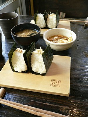 Seaweed - Onigiri and wakame miso soup, Japan