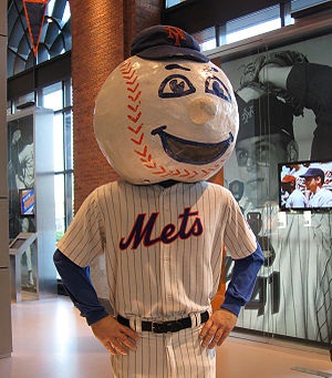 The original Mr. Met costume in the Mets Hall ...