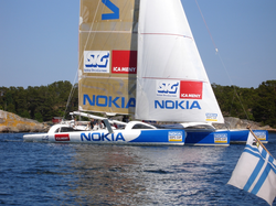 Photograph of an Orma 60 trimaran in Sandhamn before the Round Gotland Race 2005