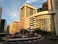 Osaka Daiichi Life Building and Umeda Station (Hanshin) at dusk.JPG